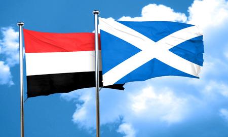yemen: Yemen flag with Scotland flag, 3D rendering