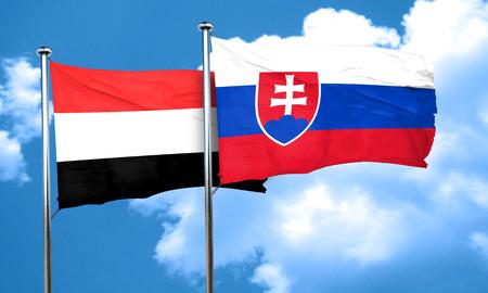 slovakia flag: Yemen flag with Slovakia flag, 3D rendering