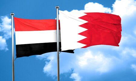 yemen: Yemen flag with Bahrain flag, 3D rendering