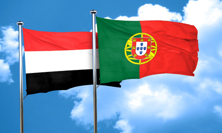 portugese: Yemen flag with Portugal flag, 3D rendering