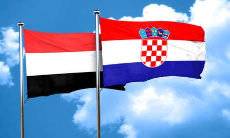 bandera croacia: bandera de Yemen con la bandera de Croacia, 3D