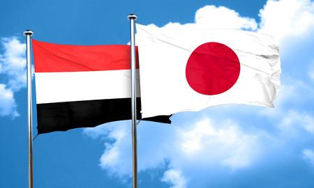 yemen: Yemen flag with Japan flag, 3D rendering