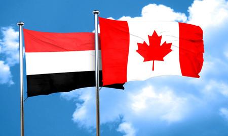 yemen: Yemen flag with Canada flag, 3D rendering
