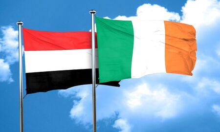 yemen: Yemen flag with Ireland flag, 3D rendering