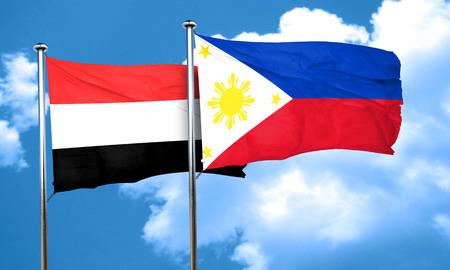 yemen: Yemen flag with Philippines flag, 3D rendering