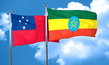 samoa: Samoa flag with Ethiopia flag, 3D rendering