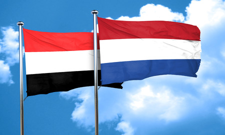 netherlands flag: Yemen flag with Netherlands flag, 3D rendering