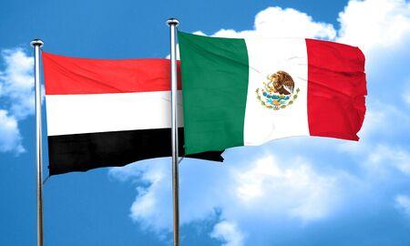 yemen: Yemen flag with Mexico flag, 3D rendering Stock Photo