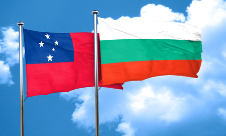 samoa: Samoa flag with Bulgaria flag, 3D rendering