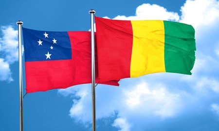 samoa: Samoa flag with Guinea flag, 3D rendering
