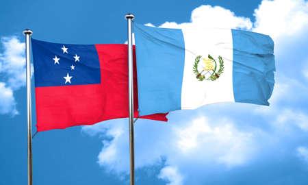 samoa: Samoa flag with Guatemala flag, 3D rendering