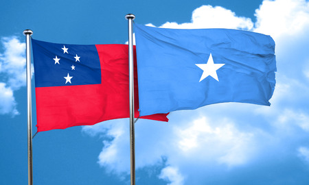 samoa: Samoa flag with Somalia flag, 3D rendering