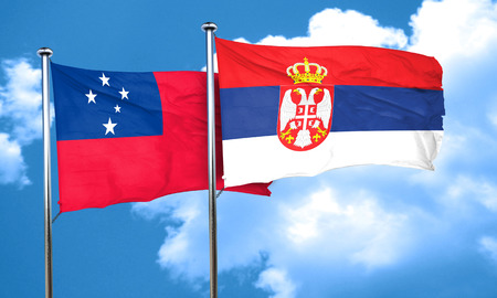 serbia flag: Samoa flag with Serbia flag, 3D rendering