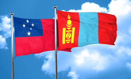 samoa: Samoa flag with Mongolia flag, 3D rendering