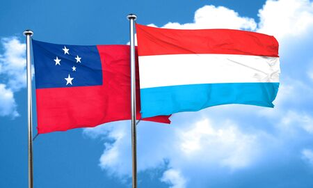 samoa: Samoa flag with Luxembourg flag, 3D rendering