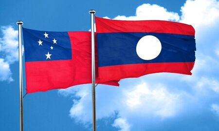 samoa: Samoa flag with Laos flag, 3D rendering