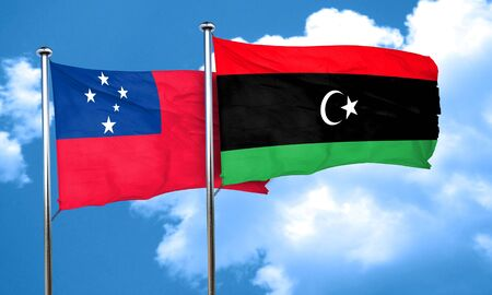 samoa: Samoa flag with Libya flag, 3D rendering Stock Photo
