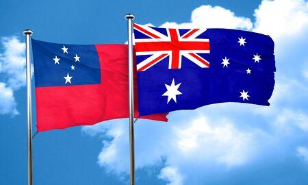 australia flag: Samoa flag with Australia flag, 3D rendering