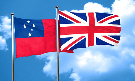 great britain flag: Samoa flag with Great Britain flag, 3D rendering