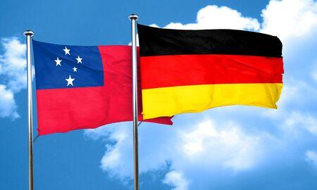 samoa: Samoa flag with Germany flag, 3D rendering