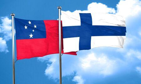 samoa: Samoa flag with Finland flag, 3D rendering