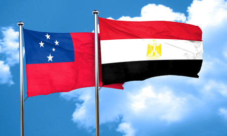 samoa: Samoa flag with egypt flag, 3D rendering
