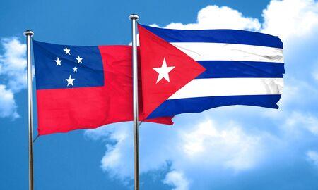 cuba flag: Samoa flag with cuba flag, 3D rendering