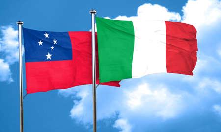 samoa: Samoa flag with Italy flag, 3D rendering Stock Photo