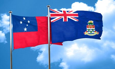 samoa: Samoa flag with Cayman islands flag, 3D rendering