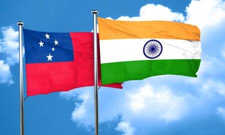 samoa: Samoa flag with India flag, 3D rendering