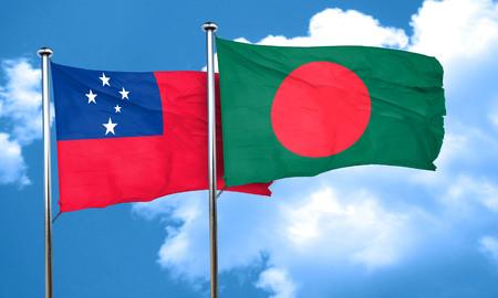 bangladesh: Samoa flag with Bangladesh flag, 3D rendering