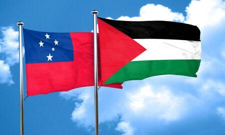 palestine: Samoa flag with Palestine flag, 3D rendering Stock Photo