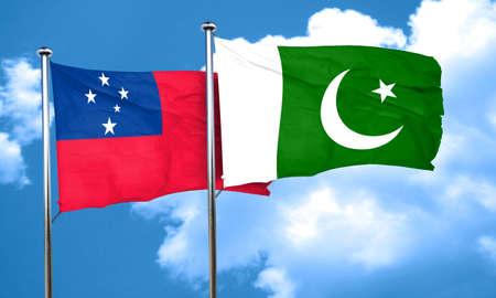 samoa: Samoa flag with Pakistan flag, 3D rendering Stock Photo