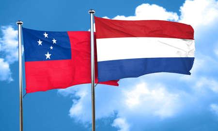 netherlands flag: Samoa flag with Netherlands flag, 3D rendering