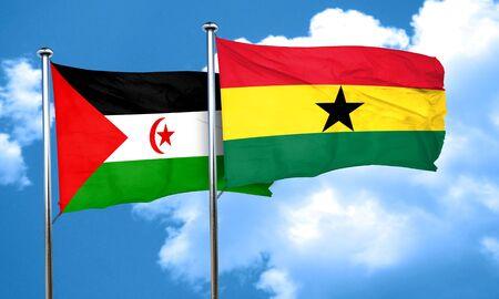 ghanese: Western sahara flag with Ghana flag, 3D rendering Stock Photo