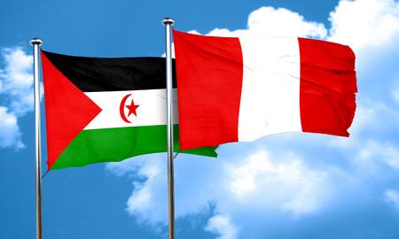 bandera de peru: Bandera de Western Sahara con la bandera de Per�, 3D