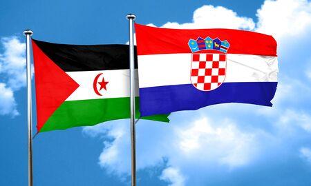 bandera de croacia: Bandera de Western Sahara con la bandera de Croacia, 3D