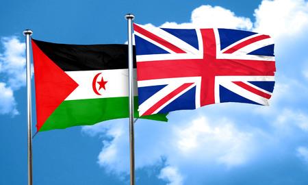 bandera de gran bretaña: Bandera de Western Sahara con la bandera de Gran Bretaña, 3D Foto de archivo