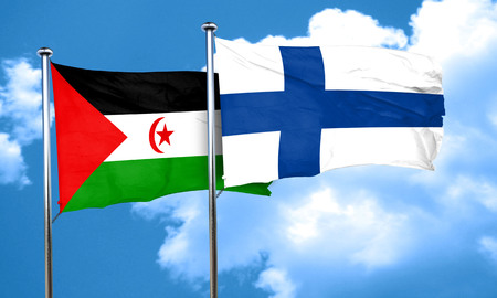 FINLAND flag: Western sahara flag with Finland flag, 3D rendering Stock Photo