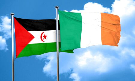 bandera de irlanda: Western sahara flag with Ireland flag, 3D rendering Foto de archivo