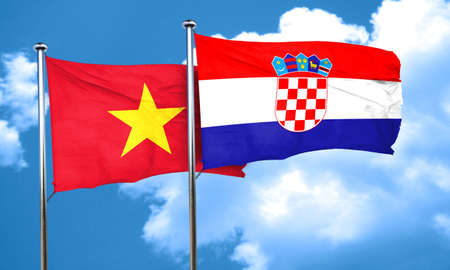 bandera croacia: Vietnam flag with Croatia flag, 3D rendering