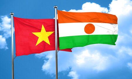 vietnam flag: Vietnam flag with Niger flag, 3D rendering