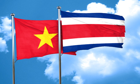 rican: Vietnam flag with Costa Rica flag, 3D rendering Stock Photo