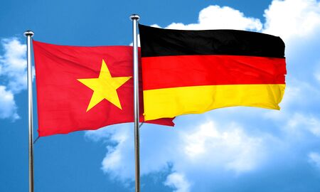 vietnam flag: Vietnam flag with Germany flag, 3D rendering