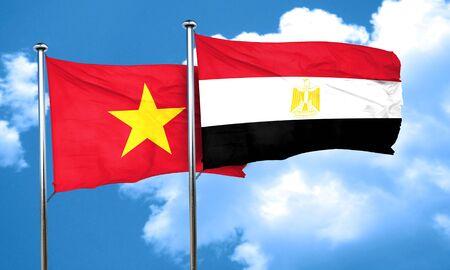 bandera de egipto: bandera de Vietnam con la bandera de Egipto, 3D