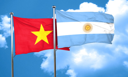 argentine: Vietnam flag with Argentine flag, 3D rendering