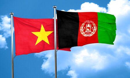 afghanistan flag: Vietnam flag with afghanistan flag, 3D rendering Stock Photo
