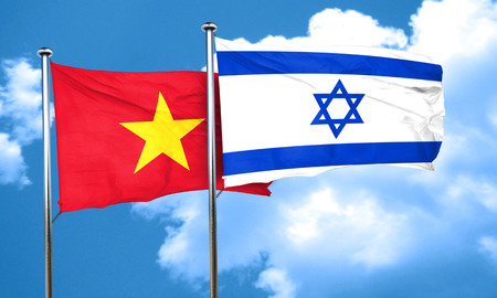 vietnam flag: Vietnam flag with Israel flag, 3D rendering