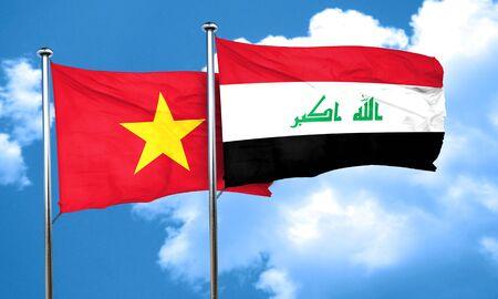 vietnam flag: Vietnam flag with Iraq flag, 3D rendering