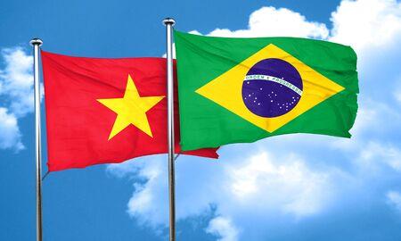 vietnam flag: Vietnam flag with Brazil flag, 3D rendering Stock Photo